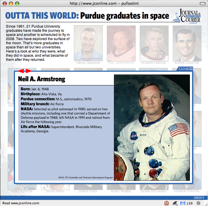 Flash presentation, Purdue astronauts