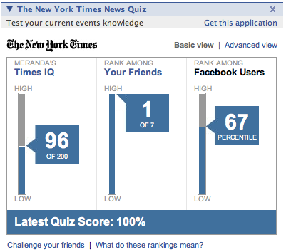 NYTimes News Quiz facebook app