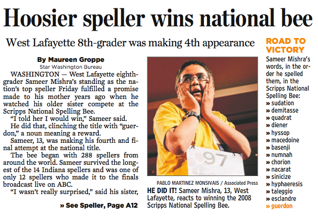 spelling bee winner leads Indy Star