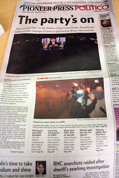 Pioneer Press actual RNC front page